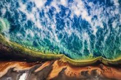 黄石国家公园的空中图象 库存图片