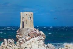 石在贝蒂的海湾,南非的点岩石海岸线 库存照片