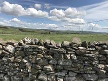 石块墙Wensleydale约克夏 图库摄影