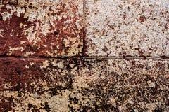 石块的墙壁被绘 大红砖以削皮油漆、镇压和抓痕 被构造的难看的东西 图库摄影