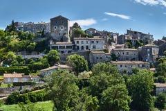 石城堡和家在巴拉聚克中世纪镇在法国 库存图片