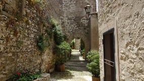 石墙和房子之间的道路在意大利 免版税库存照片
