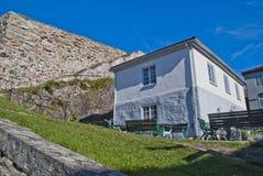 石墙在fredriksten堡垒halden 免版税图库摄影
