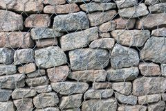 石头在钢滤网笼子背景,纹理中,抽象 免版税库存照片