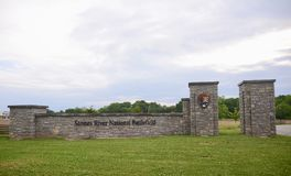 石头河全国战场公园入口Murfreesboro 免版税库存图片