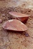 石头被砍两部分 库存图片