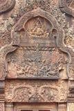 石头被雕刻在Bayon寺庙 免版税图库摄影