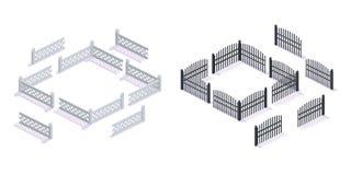 石头,金属3D篱芭,有门的,庭院的,都市建筑学 皇族释放例证