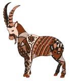 石山羊, zentangle传统化了,导航,例证, freehan 免版税库存图片