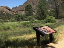 石峰有树和云彩的国家公园大砍刀里奇 图库摄影