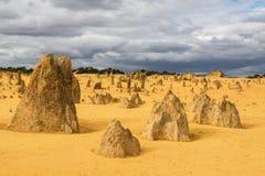 石峰沙漠在Nambung国家公园 免版税库存图片
