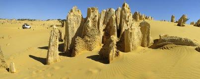 石峰沙漠, Nambung国家公园,西部澳大利亚全景  库存图片