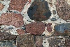 石帆布背景大理石块与水泥强的建筑结合 免版税库存照片
