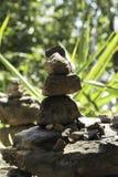 石平衡在森林里 库存图片