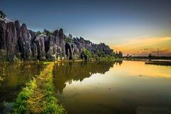 石庭院Rammang-rammang 库存照片