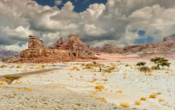 石形成在地质自然公园Timna,以色列 免版税图库摄影