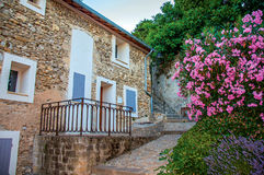 石房子、楼梯和花看法在历史市中心 库存照片