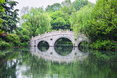石曲拱桥梁,杭州,中国风景  免版税图库摄影
