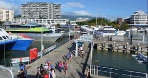 石标细索小游艇船坞鸟瞰图在昆士兰澳大利亚 免版税库存图片
