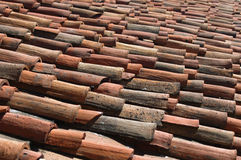 石棉背景青苔老雨屋顶 库存图片