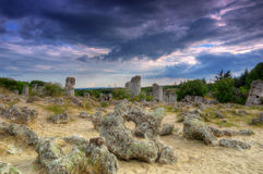 石森林或石头沙漠在瓦尔纳,保加利亚附近的/Pobiti kamani/ 免版税库存照片
