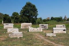 石棺在以弗所古城 库存图片