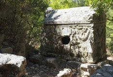 石棺Alkestis, Olympos废墟 库存照片
