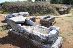 石棺Tomba del Bronzetto二Offerente,在Piombino,意大利附近的Populonia 免版税库存照片