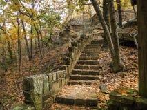 石楼梯在森林探索户外 库存图片