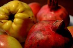石榴是有用的果子 从角落的看法 一个美好和自然图象 库存照片
