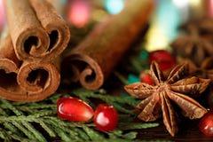 石榴种子和茴香在一张木桌上与五颜六色的背后照明 选择聚焦 E 库存图片
