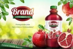 石榴装瓶了汁液广告 向量例证