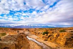 石沙漠惊人的自然视图有山峰和bea的 免版税图库摄影