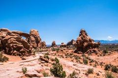石沙漠 拱门国家公园,默阿布沙漠,犹他,美国 免版税库存照片