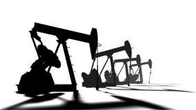 石油产出 在白色背景的剪影pumpjack 油和煤气产业动画 向量例证
