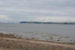 石油勘探船具在Cromarty峡湾 图库摄影