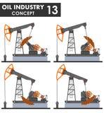 石油工业概念 在平的样式的白色背景隔绝的不同的亲切的油泵 也corel凹道例证向量 皇族释放例证