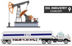 石油工业概念 汽油卡车和油泵的详细的例证在平的样式在白色背景 向量 皇族释放例证