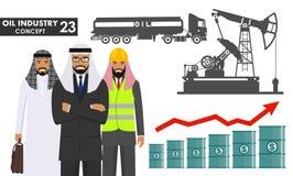 石油工业概念 阿拉伯回教商人、工程师和剪影汽油卡车,在平的样式的油泵的例证 宠物 库存例证