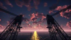 石油平台、近海平台或者海上钻探钻机在夜海日落的 现实电影动画 库存例证
