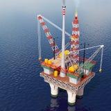 石油平台在海 免版税库存照片