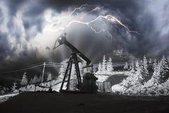 石油生产在登上Synechka的冬天 库存图片