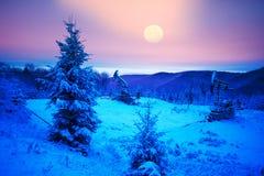 石油生产在登上Synechka的冬天 库存照片