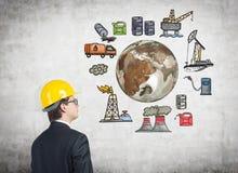 石油生产,环境污染 向量例证