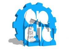 石油输出国组织在齿轮的联合象征 库存图片