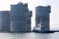 石油钻井平台基础  库存图片
