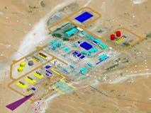 石油&天然气加工厂项目计划, 3D式样计划 免版税库存图片