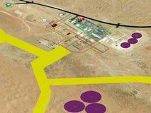 石油&天然气加工厂项目计划, 3D式样计划 免版税库存照片