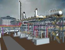 石油&天然气加工厂3D模型设计 库存图片