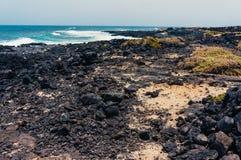 石海滩在兰萨罗特岛 库存图片